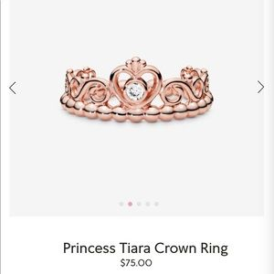 "Pandora ""My Princess Tiara Ring"" Rose Gold"